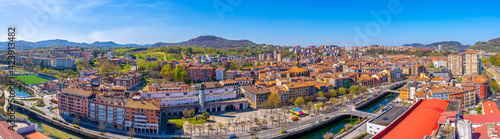 Panoramic aerial view of the Errenteria city skyline from above. Gipuzkoa, Basque Country. Spain