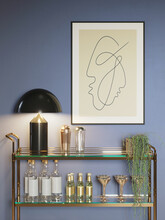 3d Render Of A Modern Blue Room With A Mini Bar Trolley With Glasses, Bottles, A Minimal Lines Art Frame And A Hanging Plant