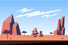 Mountains At Desert Landscape Background In Flat Cartoon Style. Trees, Dry Grass, Sparse Vegetation, Rocky Peaks And Stones At Wilderness. Abstract Nature Scenery. Vector Illustration Of Web Banner