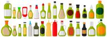 Illustration On Theme Big Kit Varied Glass Bottles Filled Thick Sauce Wasabi