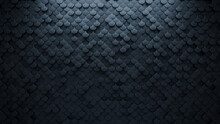 Futuristic, Dark 3D Background, With A Fish Scale Block Structure. Wall Texture With A 3D Tile Pattern. 3D Render