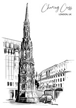 Queen Eleanor Memorial Cross At The Charing Cross Station In London. Black Line Sketch Isolated On White Background. A4 Vertical Format. EPS10 Vector Illustration