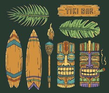 Set Of Trendy Hawaii Wooden Tiki Mask With Joint For Surfing Bar. Traditional Ethnic Idol And Surf Of Hawaiian, Maori Or Polynesian. Old Tribal Totem Torch