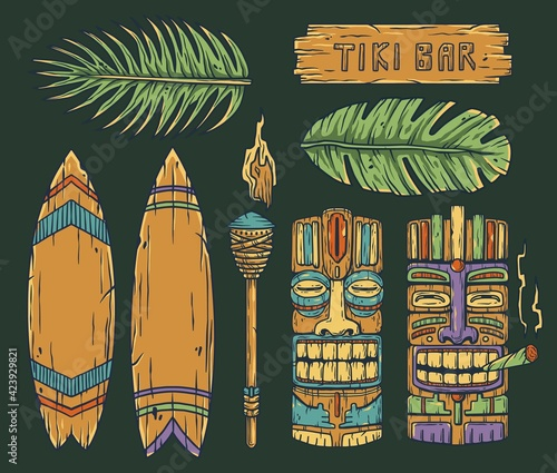 Obraz na plátně Set of trendy hawaii wooden tiki mask with joint for surfing bar