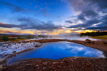 Blesi Hot Spring Located In The Haukadalur Geothermal Area In Iceland