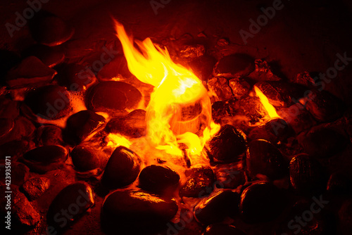 Fotografie, Tablou Spring of fire water. Burning methane in water. Cold fire