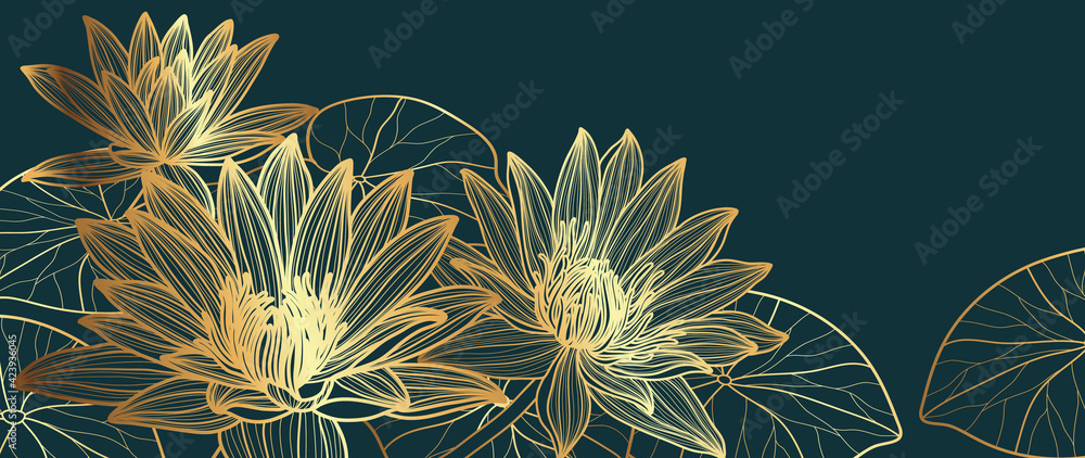 Fototapeta Luxury Gold lotus background vector. Golden Lotus line arts design for wallpaper, wall arts, fabric, prints and background texture, Vector illustration.