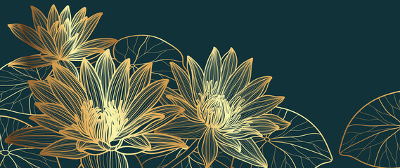 Luxury Gold lotus background vector. Golden Lotus line arts design for wallpaper, wall arts, fabric, prints and background texture, Vector illustration.