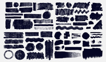 Big Set Of Grunge Elements For Social Media. Paintbrush, Brush Strokes Templates. Design Rectangle Text Boxes Or Speech Bubbles. Vector Dirty Distress Banners For Social Networks Story And Posts.