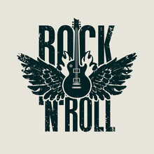 Rock 'n' Roll - Vector Banner, Logo, Emblem, Label Or Design Element In Grunge Style. Creative Black Lettering With Electric Guitar And Wings On Fire. Cool Print For T-shirt, Tattoo Or Graffiti