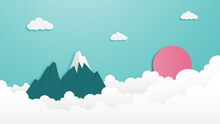 Mountain And Cloud Landscape Illustration Paper Cut Out Style