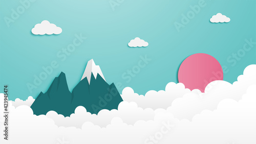 Canvas Mountain and cloud landscape illustration paper cut out style