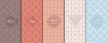 Abstract Geometric Seamless Patterns. Vector Set Of Stylish Pastel Backgrounds With Elegant Minimal Labels. Subtle Modern Ornament Textures. Trendy Pastel Color Palette. Design For Print, Decoration