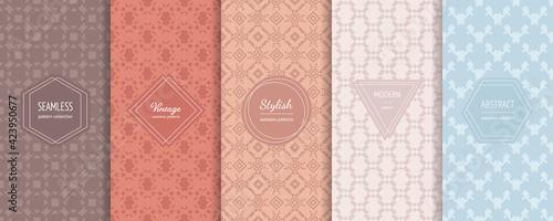 Fototapeta Abstract geometric seamless patterns. Vector set of stylish pastel backgrounds with elegant minimal labels. Subtle modern ornament textures. Trendy pastel color palette. Design for print, decoration obraz