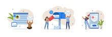 Email Marketing Scenes. People Characters Using Online Postbox And Sending Advertising Mails. Woman And Man Holding Envelopes And Reading Letters.  Flat Cartoon Vector Illustration.