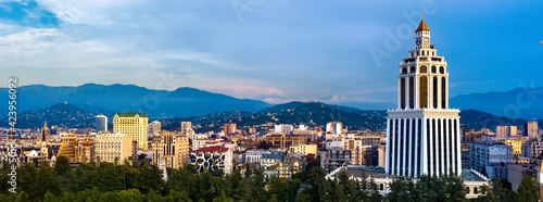Valokuva View of the city of Batumi, sea, mountains from a drone