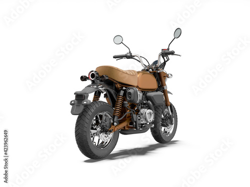 3d rendering brown motorcycle isolated back view on white background with shadow