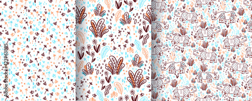 Fotografie, Obraz Set of seamless patterns with rhinos and safari in doodle style