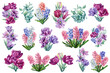 canvas print picture - Set of bouquets of flowers. Tulips, hyacinths, eucalyptus leaves painted in watercolor on a white background
