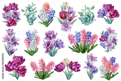 Photo Set of bouquets of flowers