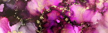 Art Photography Of Abstract Fluid Painting With Alcohol Ink, Pink, Purple And Gold Colors