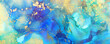 art photography of abstract fluid art painting with alcohol ink, blue, green, yellow and gold colors