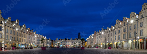Canvas view of the Main Square (Place des Heros) with locals and visitors Arras France