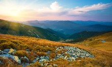 Picturesque Summer Sunset View, Natural Sundown Scenery, Majestic Evening Landscape, Beautiful Nature Background In The Mountains, Carpathians, Ukraine, Europe