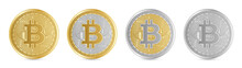 Realistic Golden Coin Pack With Bitcoin Sign In Four Different Color Types. Isolated Gold Coins. Cryptocurrency Mining.