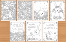 Cute Bunny And Flowers. Coloring Pages Set. Spring And Easter Coloring.