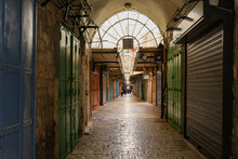 Closed Shops On Daniel Street Arab Market On A Rainy Day Near The Yafo Gate In The Old City Of Jerusalem, In Israel