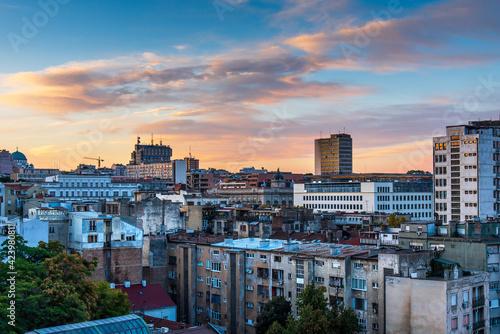 Valokuvatapetti Sunrise over Belgrade old city in the capital city of Serbia