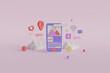 3D Rendering - Mobile App Development Illustration