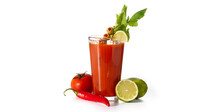 Bloody Mary Cocktail In Glass And Ingredients Isolated On White Background
