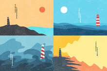Vector Illustration. Minimalist Contemporary Painting Landscapes. Japanese Linear Pattern Overlay. Modern Graphic. Hand Drawn Line Art. Hand Drawn Design Elements For Banner, Social Media Template.