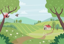 Spring Countryside Landscape With House, Trees And Birds. Cute Vector Illustration In Flat Style