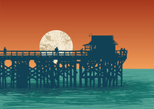 Oceanic View With Silhouette Pier And Full Moon. Vector Illustration.
