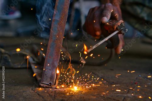 soldadura, fuego, llama, metal, humo, caliente, herrero, hierro, barbacoa, acero Wallpaper Mural