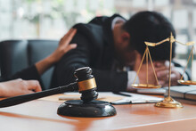 Lawyer Consoling Solution To His Clients Provides Legal Advice And Trust Commitment Strain Serious For Problem, Justice And Law Concept.