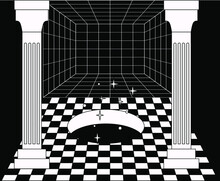Surreal Room Interior With A Checkerboard Floor And Pillars. Trendy Pop Art Psychedelic Style Illustration.