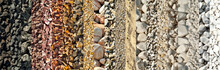 Drainage Systems From Small Pebbles. Garden Drainage For Plants And Trees. Collage Of Different Types Of Stones. Decorative Stones Of Different Colors And Sizes.