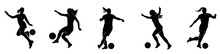 Female Soccer Silhouette Collection. Set Of Female Football Player Silhouette.