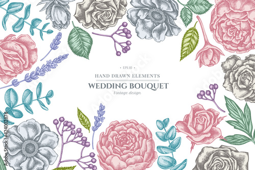Papel de parede Floral design with pastel roses, anemone, eucalyptus, lavender, peony, viburnum