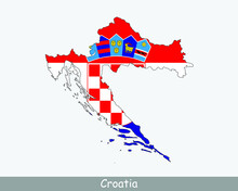 Croatia Map Flag. Map Of Croatia With The Croatian National Flag Isolated On White Background. Vector Illustration.