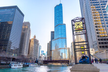 Trump Tower And Chicago River On A Clear Summer Day.