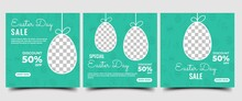 Set Of Easter Banner Template. Easter Day Sale Social Media Banner Design. Green Background With Egg Pattern. Suitable For Social Media, Cards, Banners, And Website. Vector Design With A Photo Collage