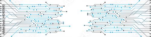 Fototapeta Abstract Technology Background, blue circuit board pattern, microchip, power line obraz