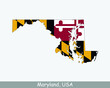 Maryland Map Flag. Map of MD, USA with the state flag isolated on white background. United States, America, American, United States of America, US State. Vector illustration.