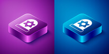 Isometric Tombstone With Star Of David Icon Isolated On Blue And Purple Background. Jewish Grave Stone. Gravestone Icon. Square Button. Vector