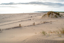 The Sandy Coastline At South Shields Beach, A Seaside Town Near Newcastle Upon Tyne In The North East Of England.